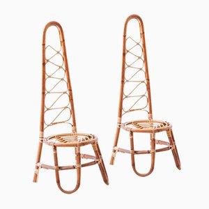 Italienische Rattan Gartenstühle, 1950er, 2er Set