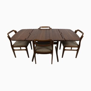 Vintage Dining Table & Chairs Set by Johannes Andersen for Uldum Møbelfabrik, Set of 5