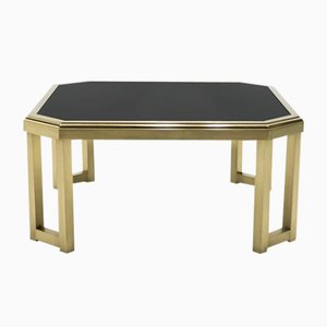 Brass, Black Opaline Glass Coffee Table from Maison Jansen, 1970s