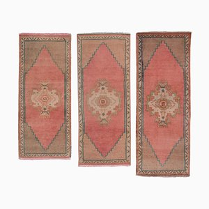 Vintage Turkish Wool Oushak Bath Mats, 1970s, Set of 3