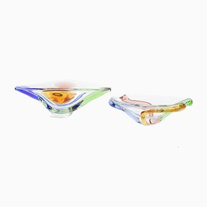 Mid-Century Glass Bowls by Frantisek Zemek for Mstisov, 1950s, Set of 2