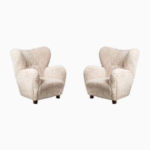 Dänische Sessel mit Schaffell im Stil von Fritz Hansen, 1950er, 2er Set