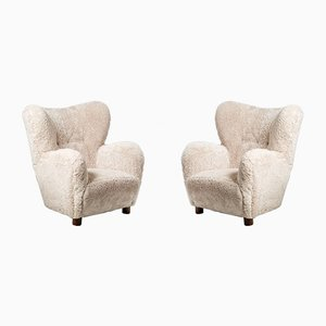Danish Sheepskin Lounge Chairs in the Style of Fritz Hansen, 1950s, Set of 2