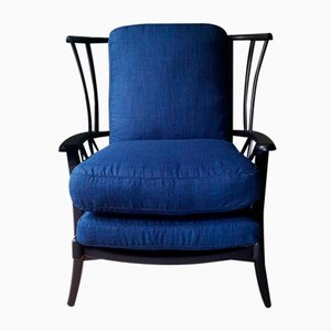 Mid-Century Blue and Black Wood Armchair