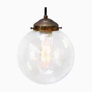 Lampe à Suspension Vintage en Verre Bullé et en Laiton, Pays-Bas