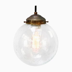 Vintage Dutch Bubble Glass and Brass Globe Pendant Lamp