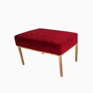 Vintage Italian Brass and Red Fabric Ottoman, 1970s