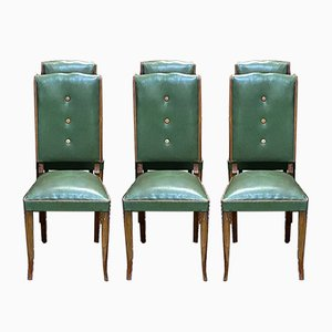 Chaises de Salon Art Déco en Hêtre et en Skaï, 1930s, Set de 6