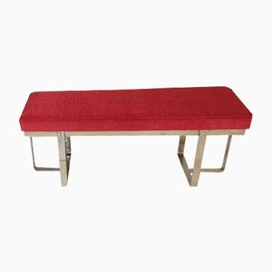 Vintage Steel and Red Fabric Bench, 1970s