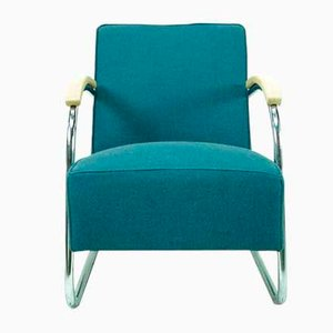 Bauhaus Turquoise Cantilever Armchair from Mücke Melder, 1930s