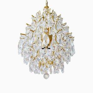 Italienischer Regency Vergoldeter Kronleuchter aus Kristallglas, 1960er