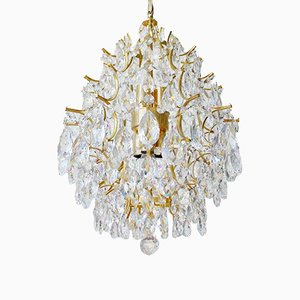Regency Italian Gilded Chandelier with Crystal Glass, 1960s
