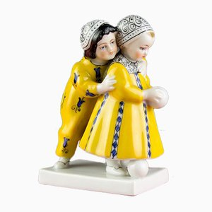 Porcelain Figurine of Two Children with a Ball from Goebel, 1920s
