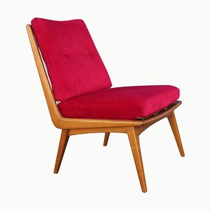 Oxblood Red Lounge Chair by Hans Mitzlaff for Soloform, 1950s