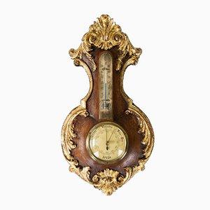 Baromètre Vintage Style Rococo en Chêne Sculpté avec Thermomètre, 1920s