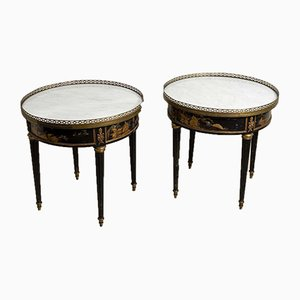 Mid-Century Side Tables with Marble Tops, Set of 2