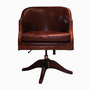 Polished Brown Leather Tub Desk Chair with Swivel Base, Reed Arms & Finished with Brass Stud Edwardian Detailing, 1940s