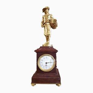Antike Uhr mit Skulptur eines Schlagzeugers von E.Thomas