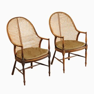 Antique Bergere Cane Beech Rocking Chairs, Set of 2