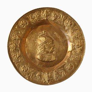 Mid-Century Effigy of Emperor Vercingetorix Decorative Brass Plate, 1950s