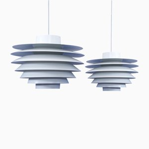 Large White Verona Pendant Lamps by Svend Middelboe for Nordisk Solar, 1970s, Set of 2