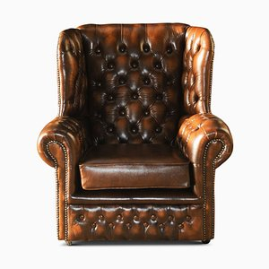 Chesterfield Brown Leather Deep Button Wingback Armchair with Brass Details, 1960s