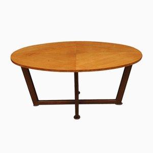 Tavolino da caffè ovale Mid-Century impiallacciato in teak, Danimarca, anni '60