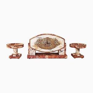 Set d'Horloges Art Déco en Marbre et Bronze, 1920s