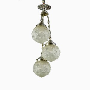 Art Deco Frosted Glass and Brass Cascade Pendant Lamp, 1920s