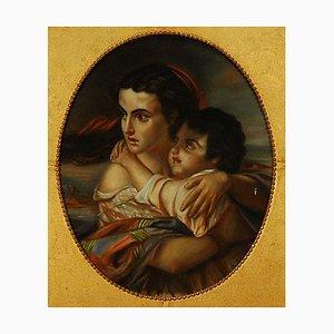 19th Century Dragon Frame Pastel Painting