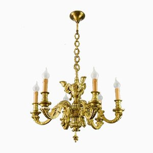 Vintage Neoclassical Style Bronze 6-Light Chandelier with Caryatids, 1920s