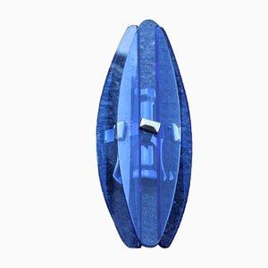 Kobaltblaue Wandleuchten aus Kristallglas von Veca, 1960er, 2er Set