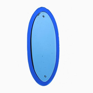 Italian Oval Cobalt Blue Mirror from Veca, 1960s