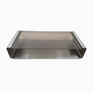 French Stainless Steel Coffee Table by Francois Monnet, 1970s