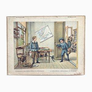 Antique Bad Behavior School Poster by Josef Hoevenaar for Van Lummel-Visser