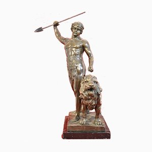 Guerrier 19ème Siècle en Bronze avec Lance et Lion de Antoine Louis Barye