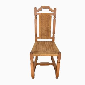 Oak and Rope Seat Chairs, 1950s, Set of 10