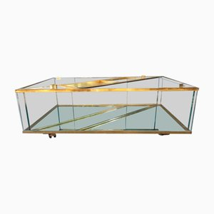 Brass and Ground Crystal Coffee Table from Maison Jansen, 1970s