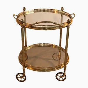 Brass and Glass 2-Tier Bar Cart Trolley in the Style of Maison Baguès, 1950s