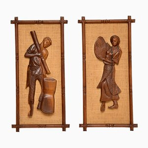Carved Walnut Decorative Wall Panels, 1960s, Set of 2