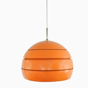 Vintage Deckenlampe aus orangefarbenem Metall & Glas, 1970er