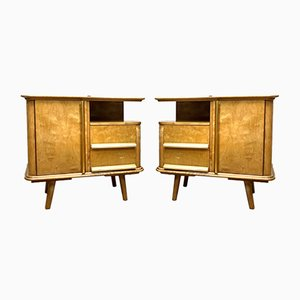 Art Deco German Maple Nightstands, 1930s, Set of 2