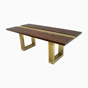 Mid-Century Italian Brass and Walnut Dining Table by Sandro Petti for Metalarte, 1970s