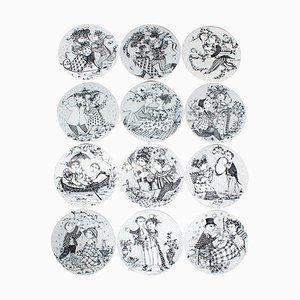 12-monatige Wandtafeln von Bjørn Wiinblad für Nymølle Keramiske Fabrik, Dänemark, 1970er, 12er Set