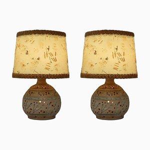 Mid-Century Studio Art Pierced Pottery Table Lamps, Set of 2