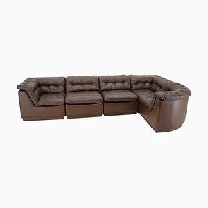 Modular Sofa in Brown Leather, Germany, 1970s, Set of 5