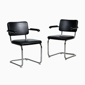 Bauhaus Black Leather S64 PV Cantilever Chair by Marcel Breuer for Thonet, 2010