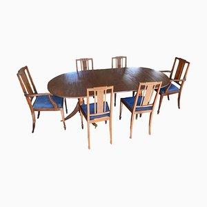Antiker 2-Säulen Esstisch & Stühle, 7er Set