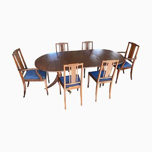 Antique 2-Pillar Dining Table & Chairs, Set of 7