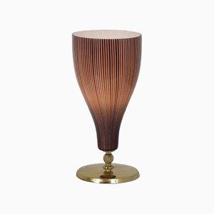 Lámpara de mesa italiana de latón y vidrio de Venini, Italy, años 50